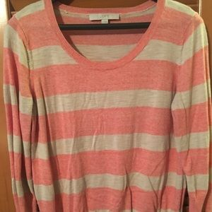 Pink and beige striped light weight sweater